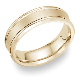 14K Yellow Gold Wedding Band with Brushed Center (Wedding Rings, Apples of Gold)