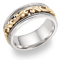14K Two-Tone Gold Paisley Wedding Band