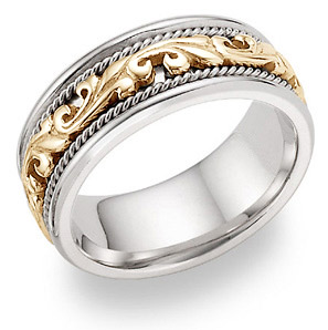 Two tone wedding bands for women