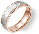 Hammered Wedding Band in 18K Rose and White Gold