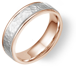 Buy 14K Rose and White Gold Hammered Wedding Band Ring