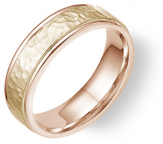 Buy 14K Rose and Yellow Gold Hammered Wedding Band Ring