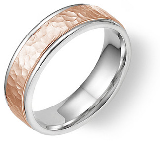 Hammered Wedding Band in 18K White and Rose Gold
