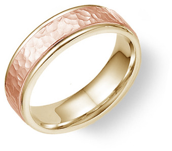 14K Yellow and Rose Gold Hammered Wedding Band Ring thumbnail