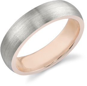Inner Rose Wedding Band in 18K White and Rose Gold