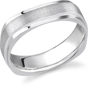 14K White Gold Square Brushed Wedding Band