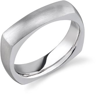 Square Wedding Band in 18K White Gold