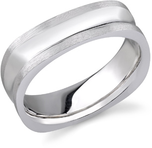 14K White Gold Concave Square Wedding Band
