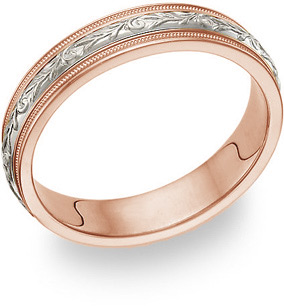 18K Rose Gold and Platinum Paisley Wedding Band Ring for Women