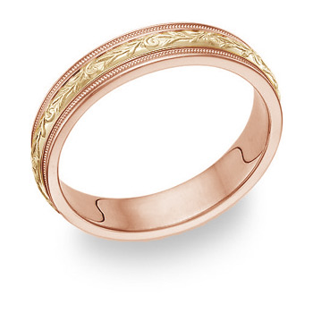 Paisley Wedding Band Ring - 14K Rose and Yellow Gold