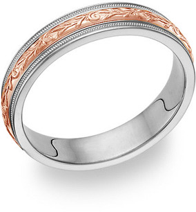 Paisley Wedding Band Ring - 14K White and Rose Gold