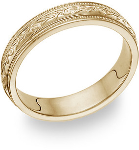 Paisley Wedding Band Ring - 14K Yellow Gold