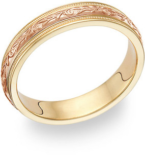 Paisley Wedding Band Ring - 14K Yellow and Rose Gold
