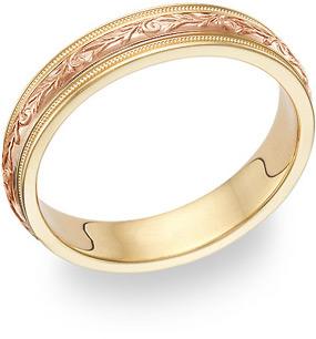 Paisley Wedding Band Ring - 14K Yellow and Rose Gold