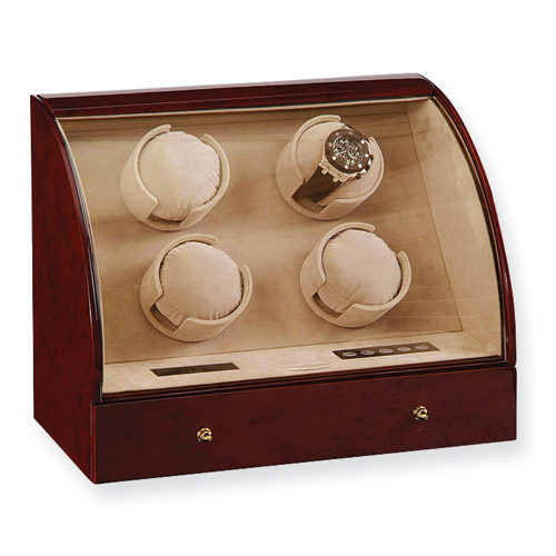 4-Watch Automatic Winder Case in Dark Burl Wood