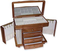 Burl Wood Oak Finish Jewelry Box