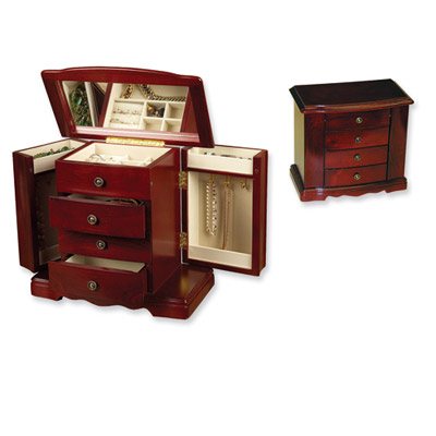 Cherry Finish Three-Drawer Musical Jewelry Box