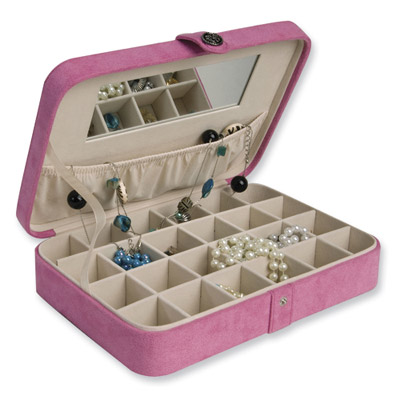 Pink Faux Suede 24-Section Earring Case