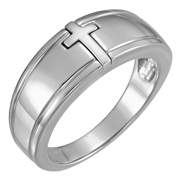 14K White Gold Men's Inlaid Cross Ring