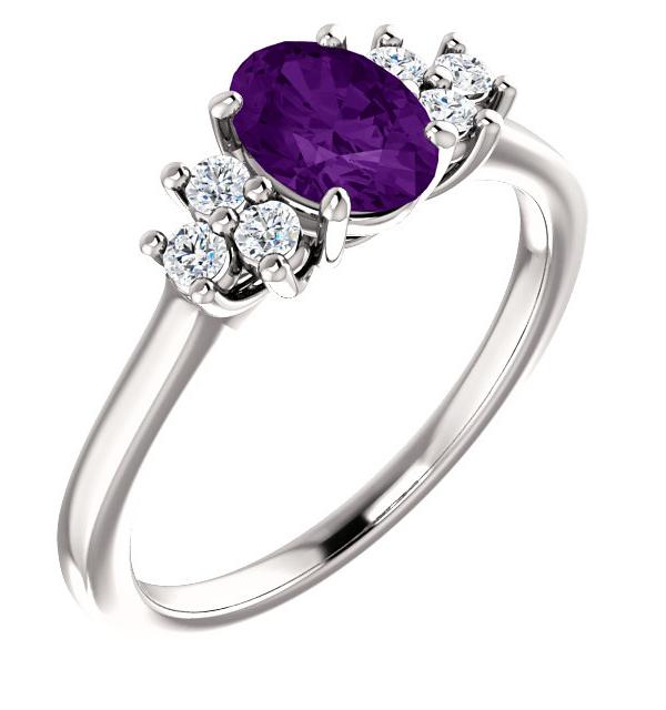 Amethyst Trinity Diamond Ring, 14K White Gold