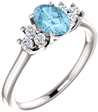 Aquamarine and Trinity Diamond Ring, 14K White Gold