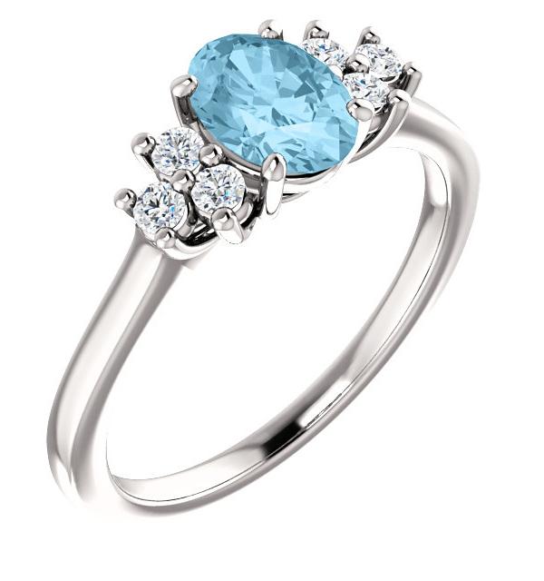 Aquamarine and Trinity Diamond Ring, 14K White Gold