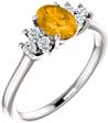 Citrine and Trinity Diamond Ring