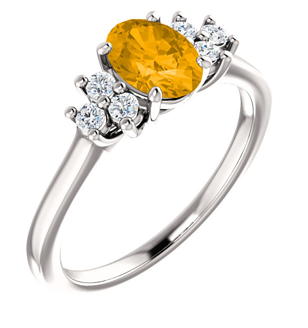 Citrine and Trinity Diamond Ring