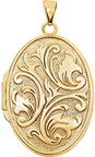 14K Gold Embossed Oval Floral Locket