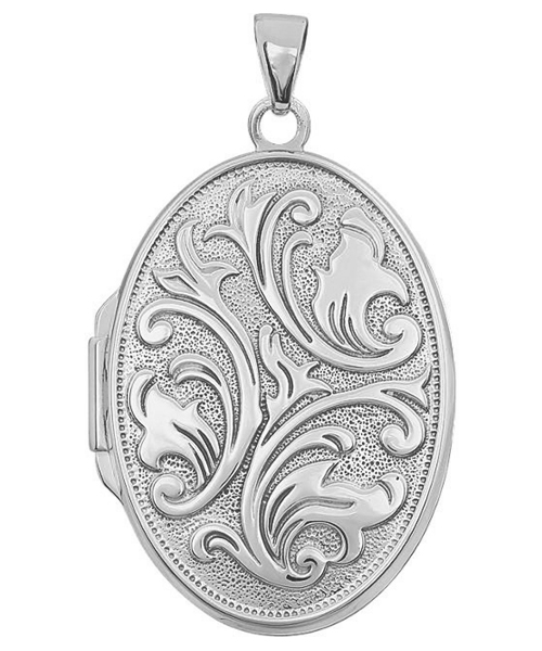 Embossed Oval Floral Locket, Sterling Silver