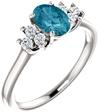 London Blue Topaz Diamond Trinity Ring