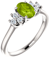 Peridot Trinity Diamond Ring in 14K White Gold