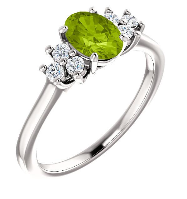 Peridot Trinity Diamond Ring in 14K White Gold