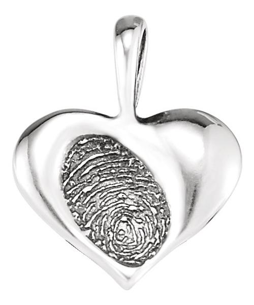Silver Heart Print Pendant