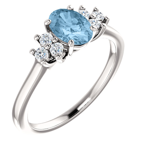 Sky Blue Topaz Trinity Diamond Ring