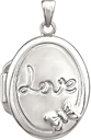 Love Locket with Butterfly in Sterling Silver