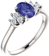 Tanzanite Diamond Trinity Ring in 14K White Gold