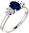 Trinity Diamond and Sapphire Ring, 14K White Gold