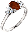 Trinity Diamond Garnet Ring, 14K White Gold