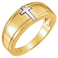 Two-Tone Inlaid Cross Ring for Women