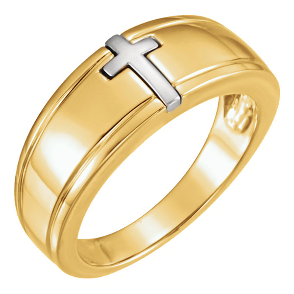 Two-Tone Gold Christian Cross Ring for Men