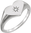 White Gold Diamond Heart Signet Ring