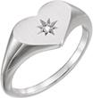 White Gold Diamond Heart Signet Ring