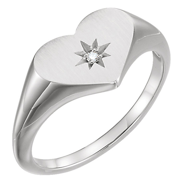 Silver Diamond Heart Signet Ring