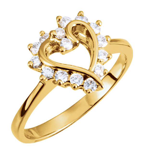 0.30 Carat Heart Halo Diamond Ring