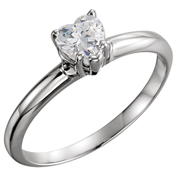 3/4 Carat Heart-Shaped CZ Solitaire Ring, 14K White Gold
