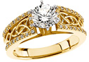 0.91 Carat Celtic Knot Diamond Engagement Ring, 14K Gold