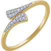 1/10 Carat Diamond Bypass Ring, 14K Gold