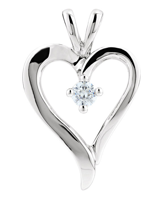 1/10 Carat Diamond Heart Pendant in White Gold