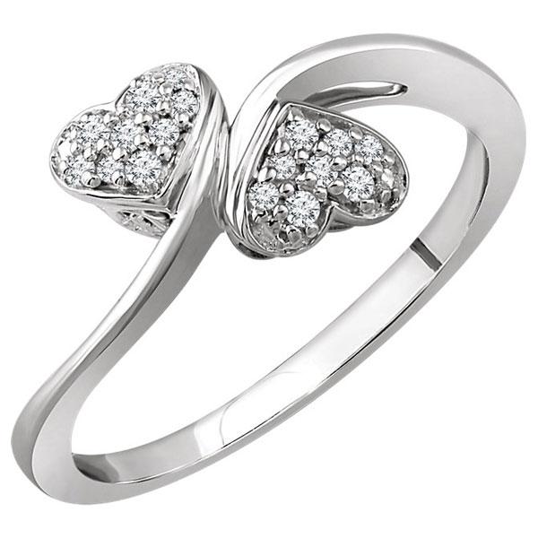 1/10 Carat Double Diamond Heart Ring, 10K White Gold